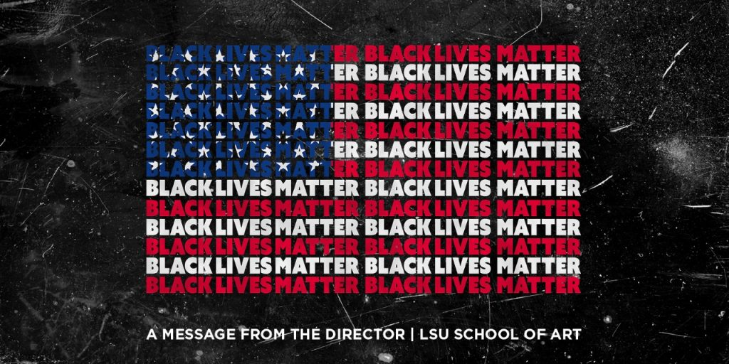 """Graphic of American flag with text """"Black Lives Matter"""" repeated"""