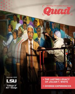 Quad 2020 cover. Photo of man painting mural