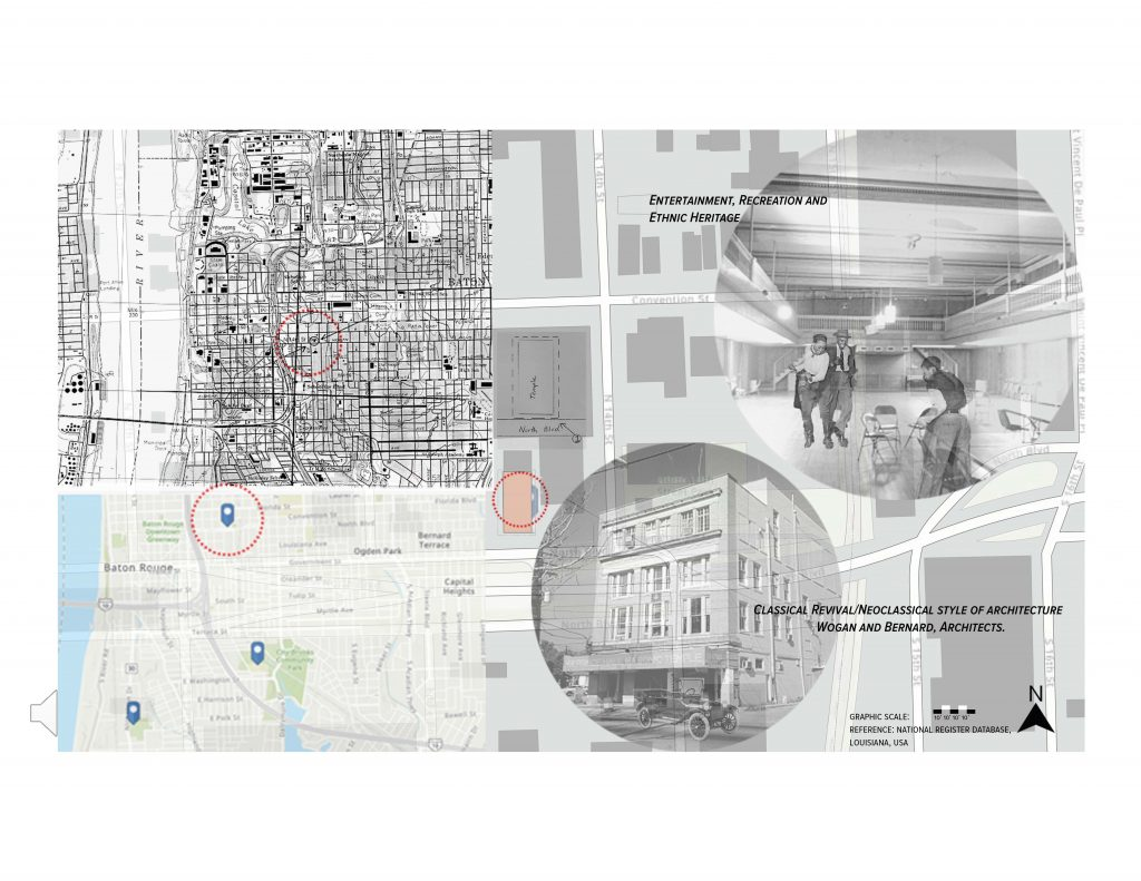 Rendering of Baton Rouge map, building images pullouts