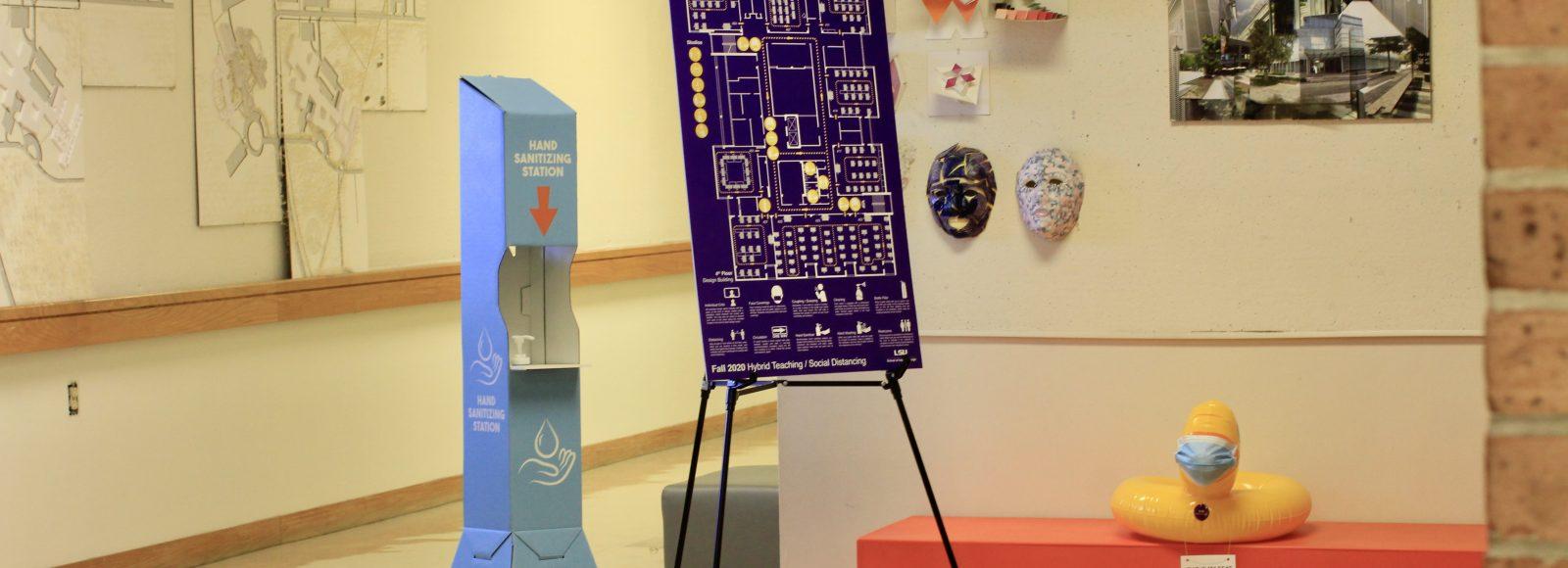 Floorplan sign and hand sanitizer station
