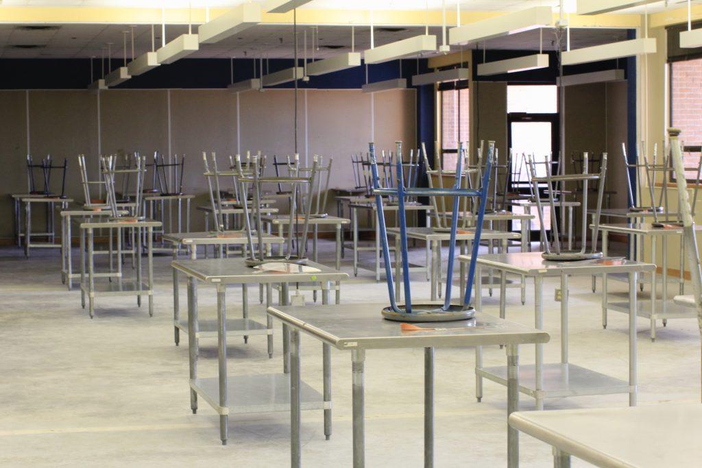 classroom with stools on desks