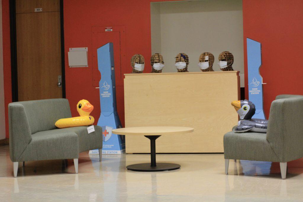 Plastic ducks on furniture