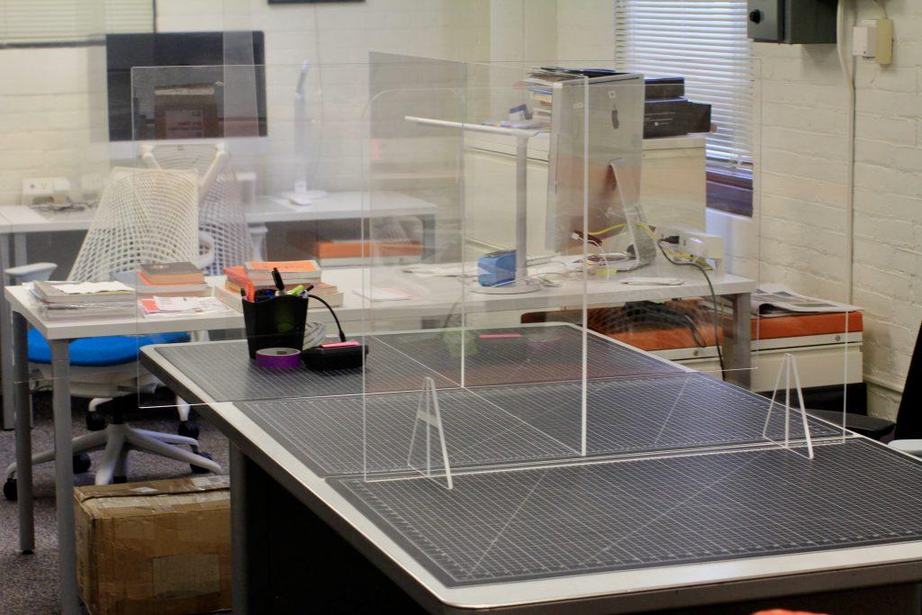 Plexiglass screen in studio