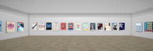 Virtually art gallery with posters on wall
