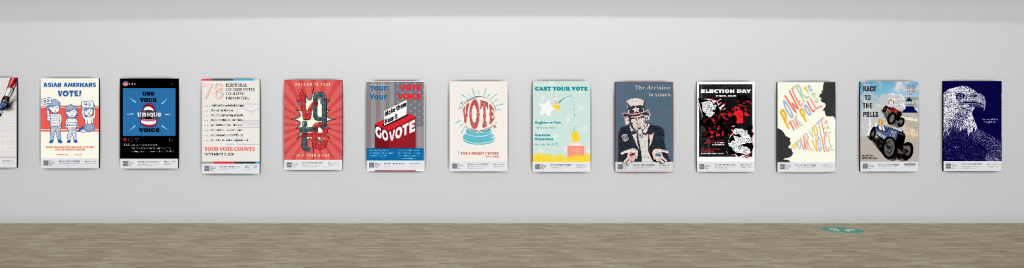Virtual posters on wall