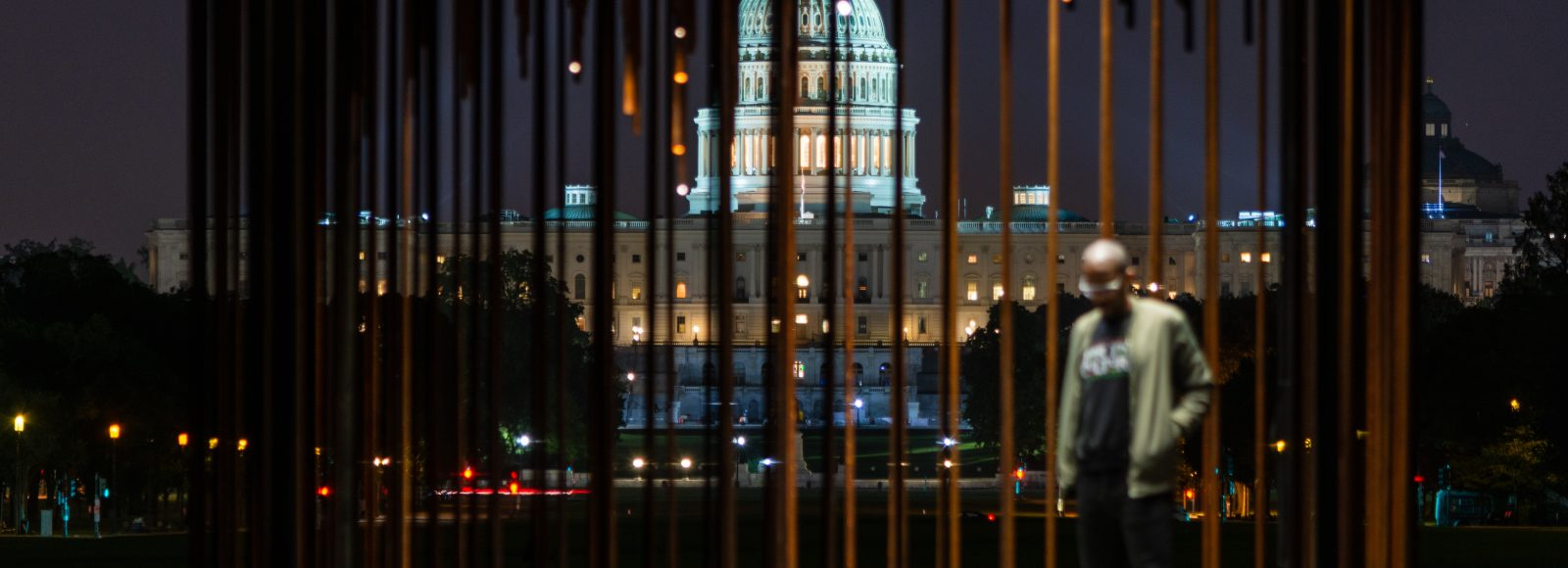 View of Capitol building in Washington, DC. illuminated at night, through bars. Black man stands in cage.