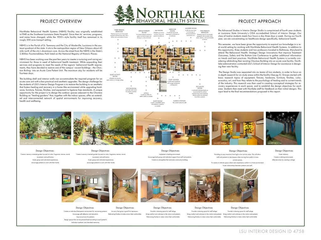 """Project with title """"Northlake Behaviorial Health System"""", images of waiting and examination rooms."""