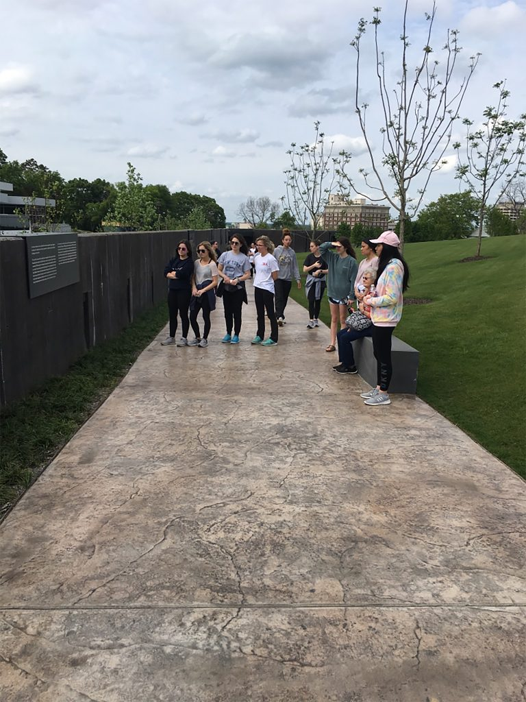 Young women on path outside