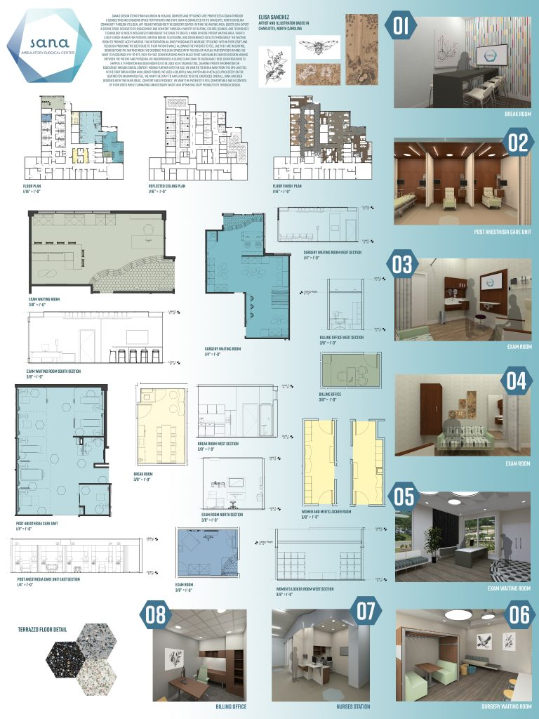 Project with floorplans, room simulations, blue background.