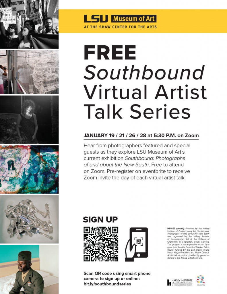 Free Southbound Virtual Artist Talk Series hosted by LSU Museum of Art. Photos from exhibition.