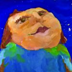Painting of upturned face