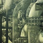 Charcoal drawing of machinery