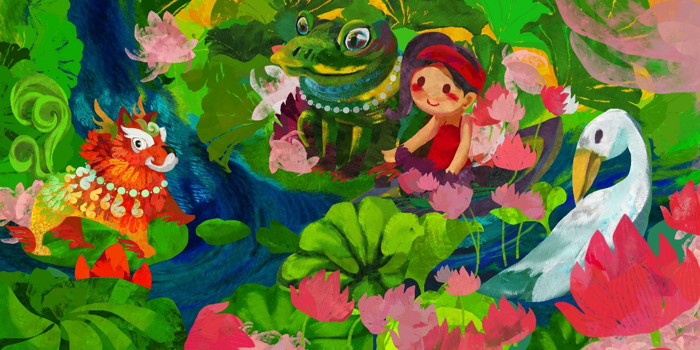 Asian art-inspired Illustration of doll girl with animals, greenery and pink lotus like flowers