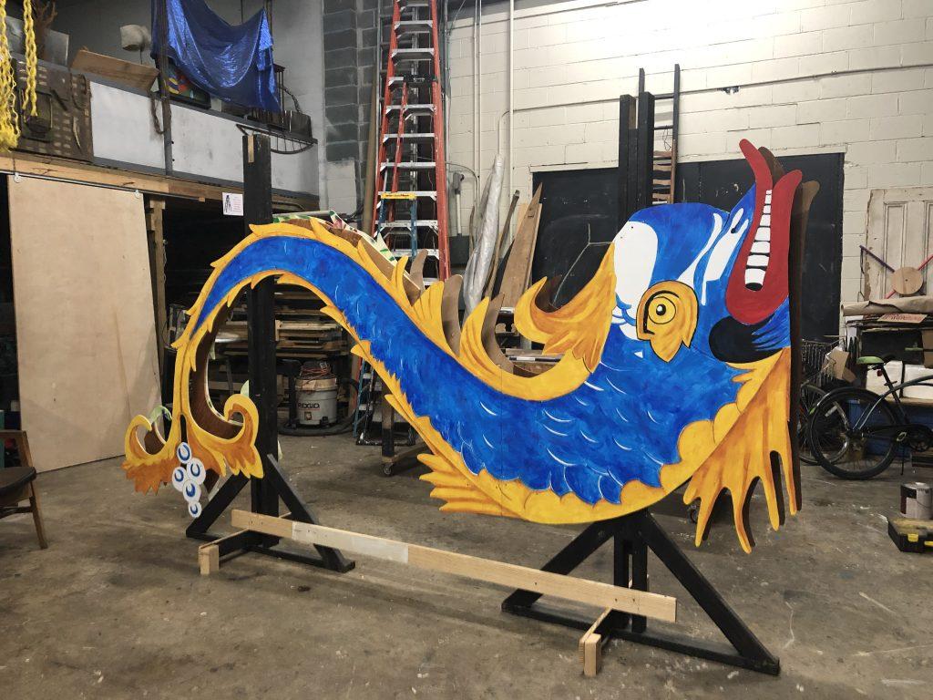 Blue sea serpent scuplture
