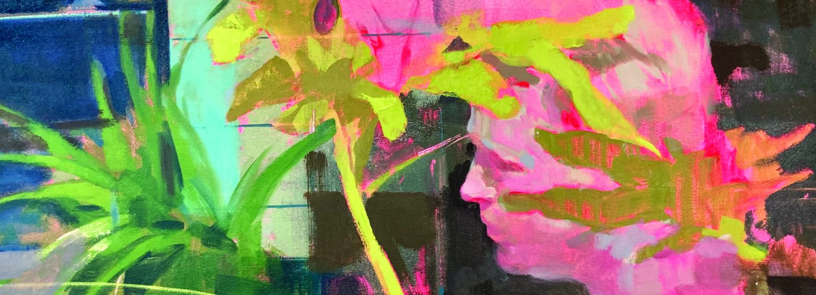 Colorful painting with bright pink face, tropical green plants