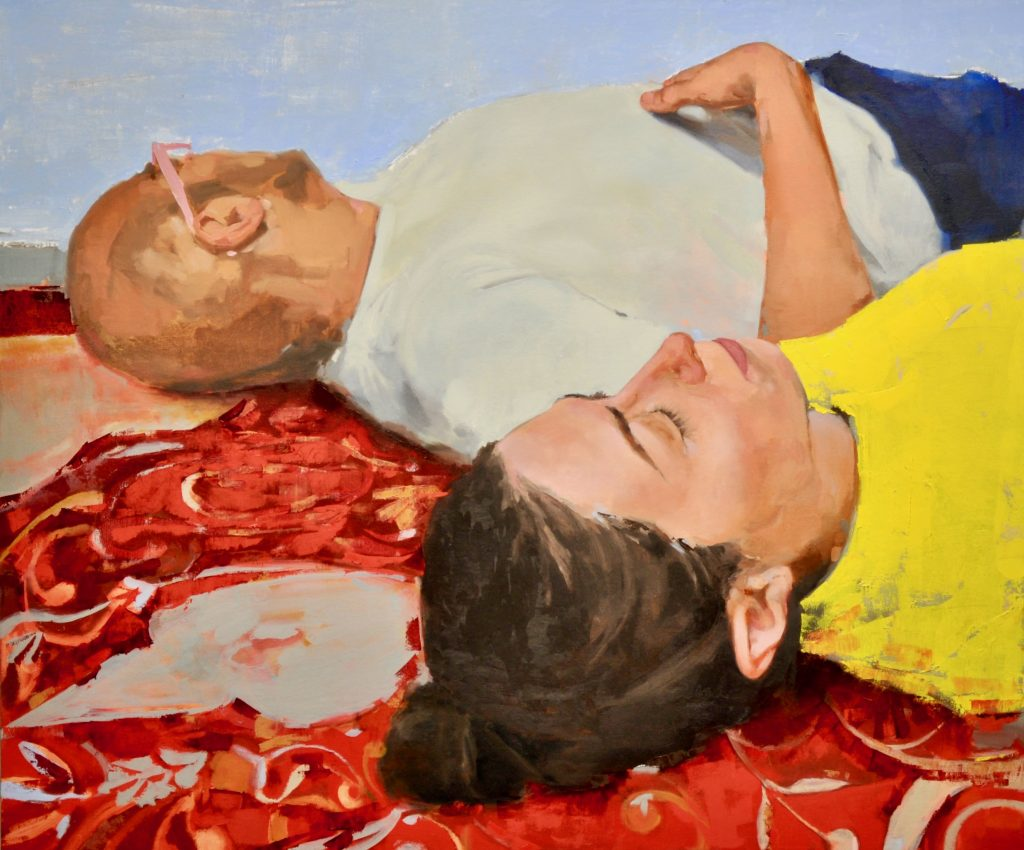 Painting of reclined man and woman.
