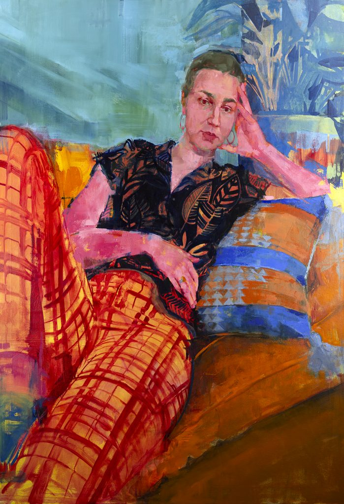 Painting of young woman reclined on pillows, wearing orange plaid pants