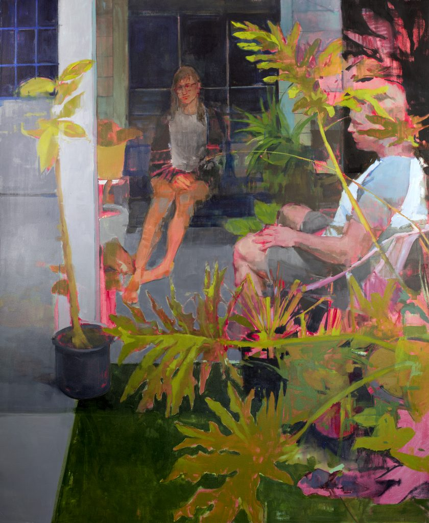 Painting of figures seated in bright garden