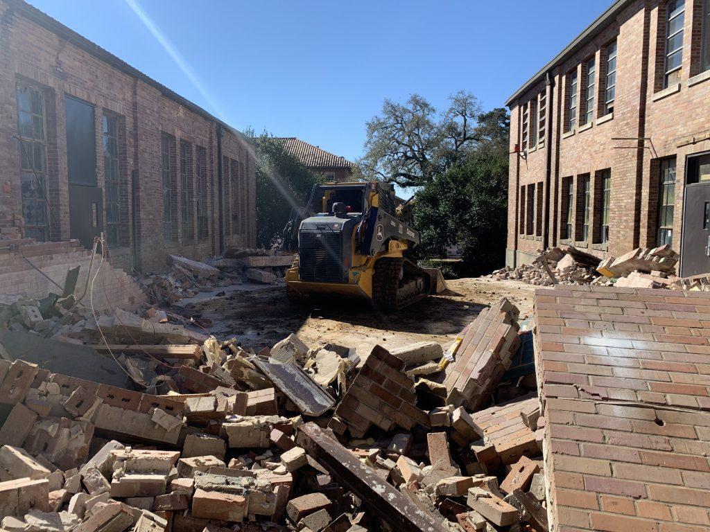 Bulldozer and rubble