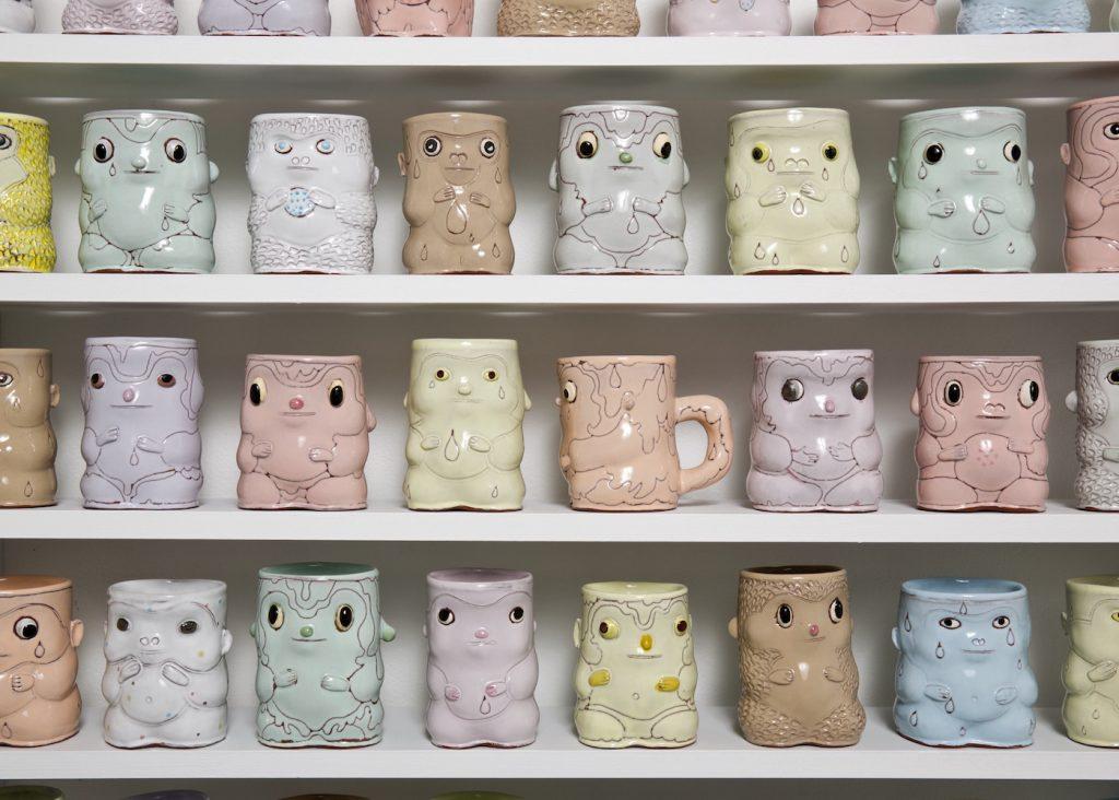 Closeup of pastel ceramic cups