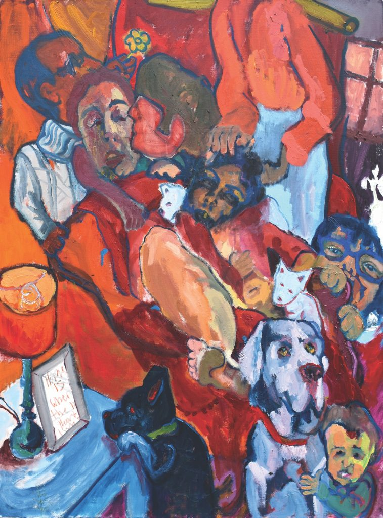 Colorful painting of human figures, dog