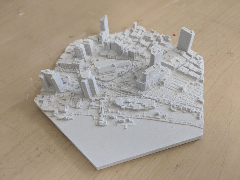 white 3D printed model of city