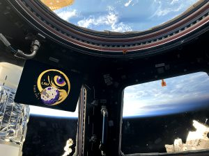 Tiger Eye 1 logo in space station, Earth in space out window