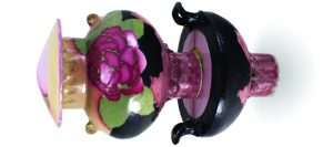 ceramic vase with painted rose