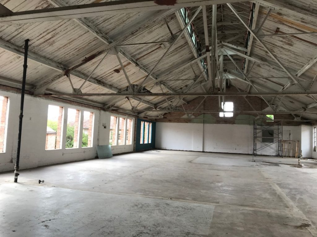 Inside large room with no windows