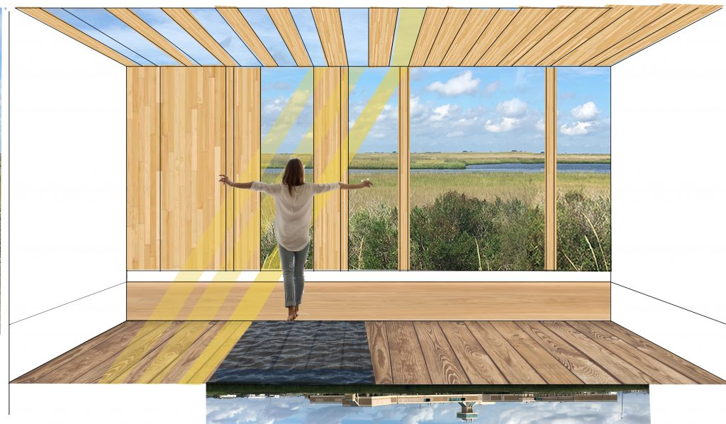 Design of figure by window with slats