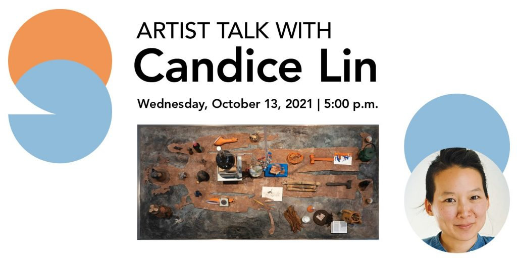 Artist Talk with Candice Lin Wednesday, Oct. 13, 2021 5 p.m. Photo of artist and work.